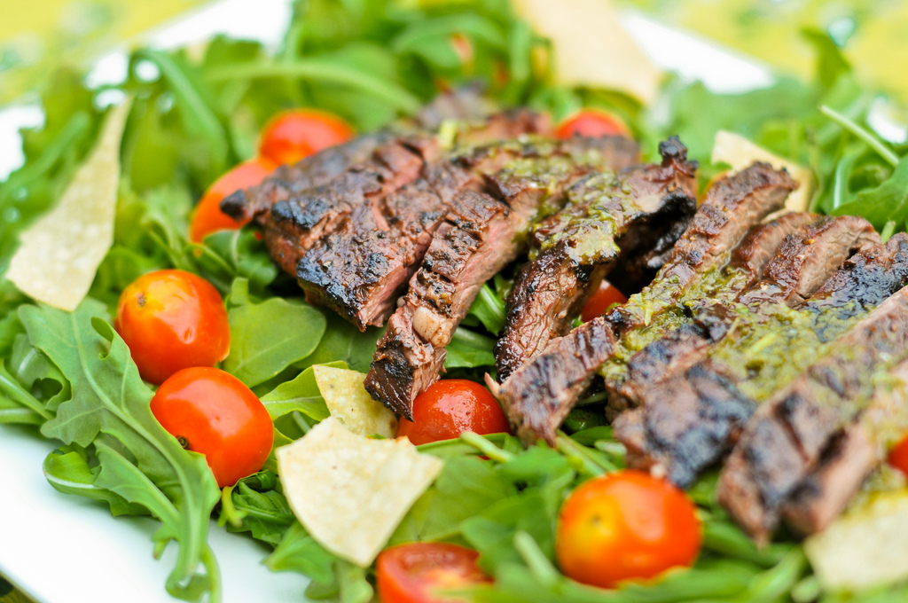 Argentine-Style Steak Salad with Cherry Tomatoes, Sweet Corn, and ...